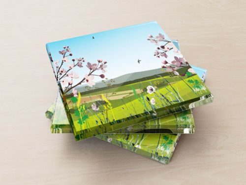 British Countryside Blue - Glass Coasters